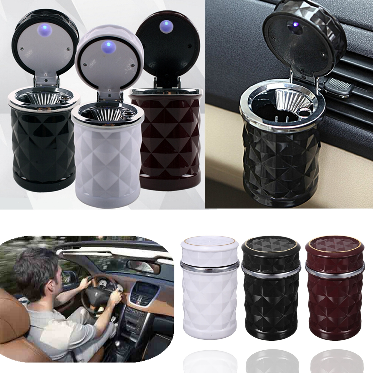 LED Portable Auto Car Ash Ashtray Smokeless Stand Cylinder Cup Holder