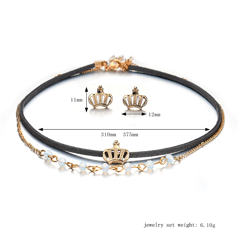 Punk Gold Crown Charm Double Layer Black Choker Fashion Crown Piercing Earrings for Women