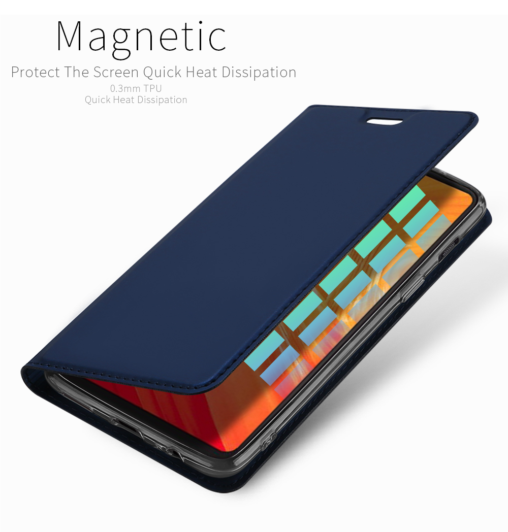 Dux Ducis Flip Magnetic Card Slot Stand Full Body PU Leather Protective Case For OnePlus 6