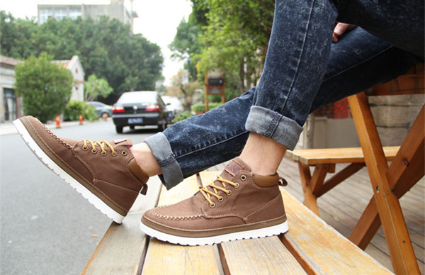 Men Shoes High Top Canvas Casual Outdoor Flat Sneakers Fashion