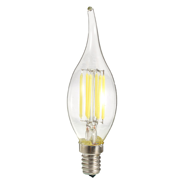 ZX Dimmable E14 6W LED Filament Light Glass House Bulb Lamps 110V 220V Candle Light chandelier