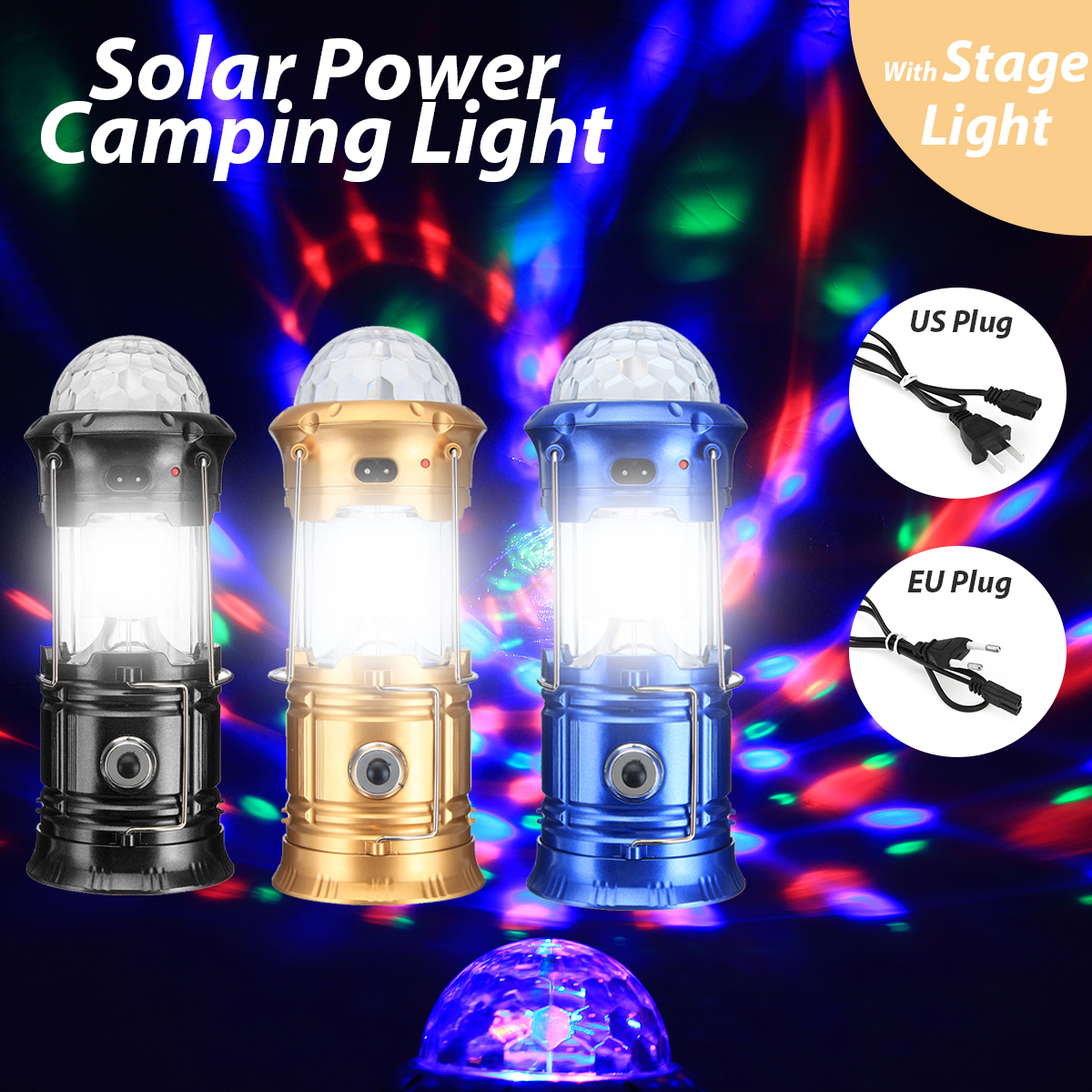 3 In 1 Portable Camping Tent LED Stage Flashlight Solar USB Rechargeable Torch Emergency Night Lamp