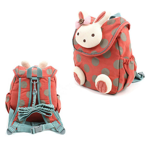 Kindergarten Kids Lovely Cartoon Cotton Backpack Walking Safety Harness Bag