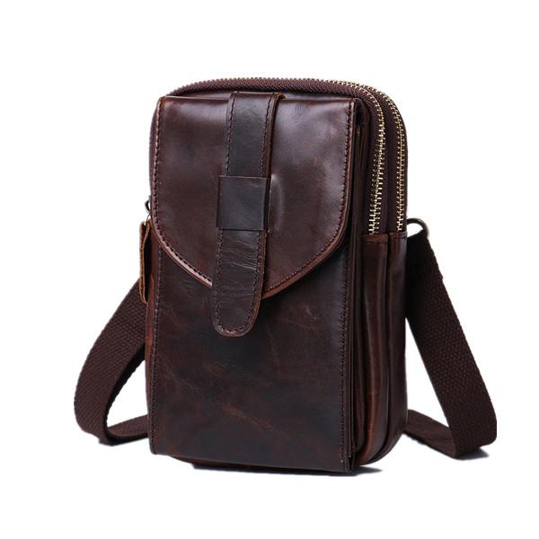 Genuine Leather Wearable Large Screen Cell Phone Bag Waist Bag Crossbody Bag For Men