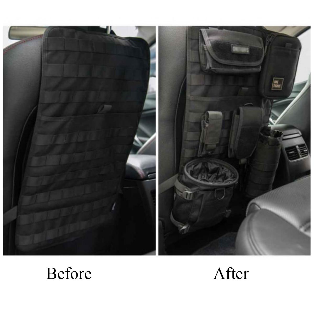 Universal Multi-functional Nylon Car Seat Back Storage bag Adjustable Organizer Army Fan Car Hanger
