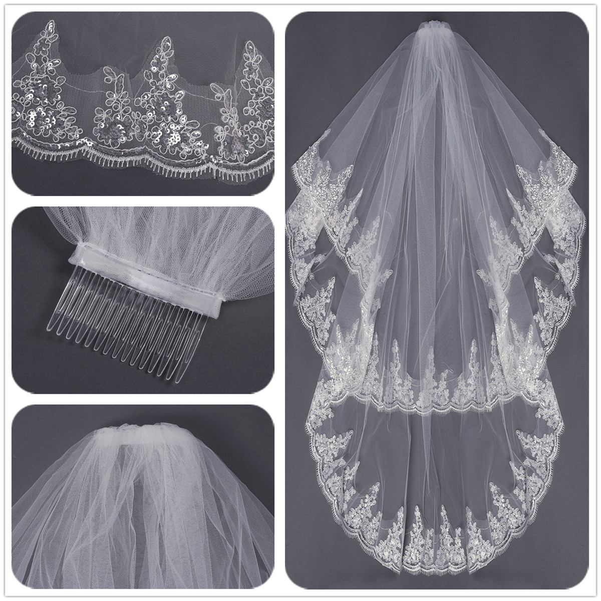 2 Layers Embroidery Lace Pearl Beaded Edge Bridal Wedding Elbow Veil With Comb
