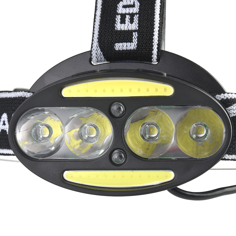 XANES 2504A 1900LM 8LED Cycling Headlamp 7 Switch Modes 4T6+2COB+2 Red Warning Light Double Switch