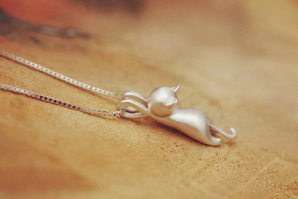925 Sterling Pure Silver Necklace Cat Pendant Lovely Sweet Jewelry