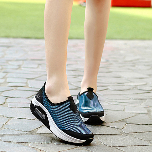 Breathable Rocker Sole Slip On Casual Shoes