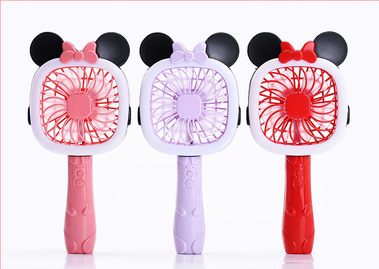 2 in 1 U16 2Modes USB Rechargeable Kitty & Mickey Mini Fan & LED Table Light Portable Flashlight