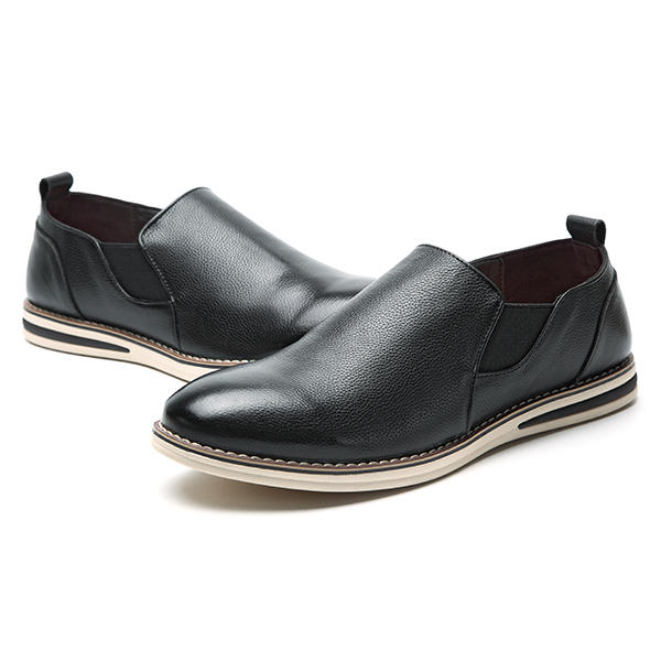 Men Genuine Leather Casual Slip On Business Oxfords Shoes