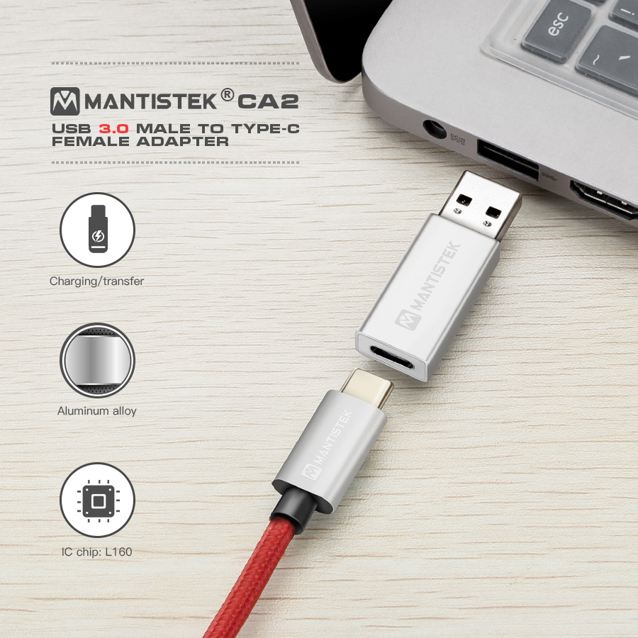 MantisTek® CA2 USB 3.0 Male to Type C Female Connector Charging Adapter