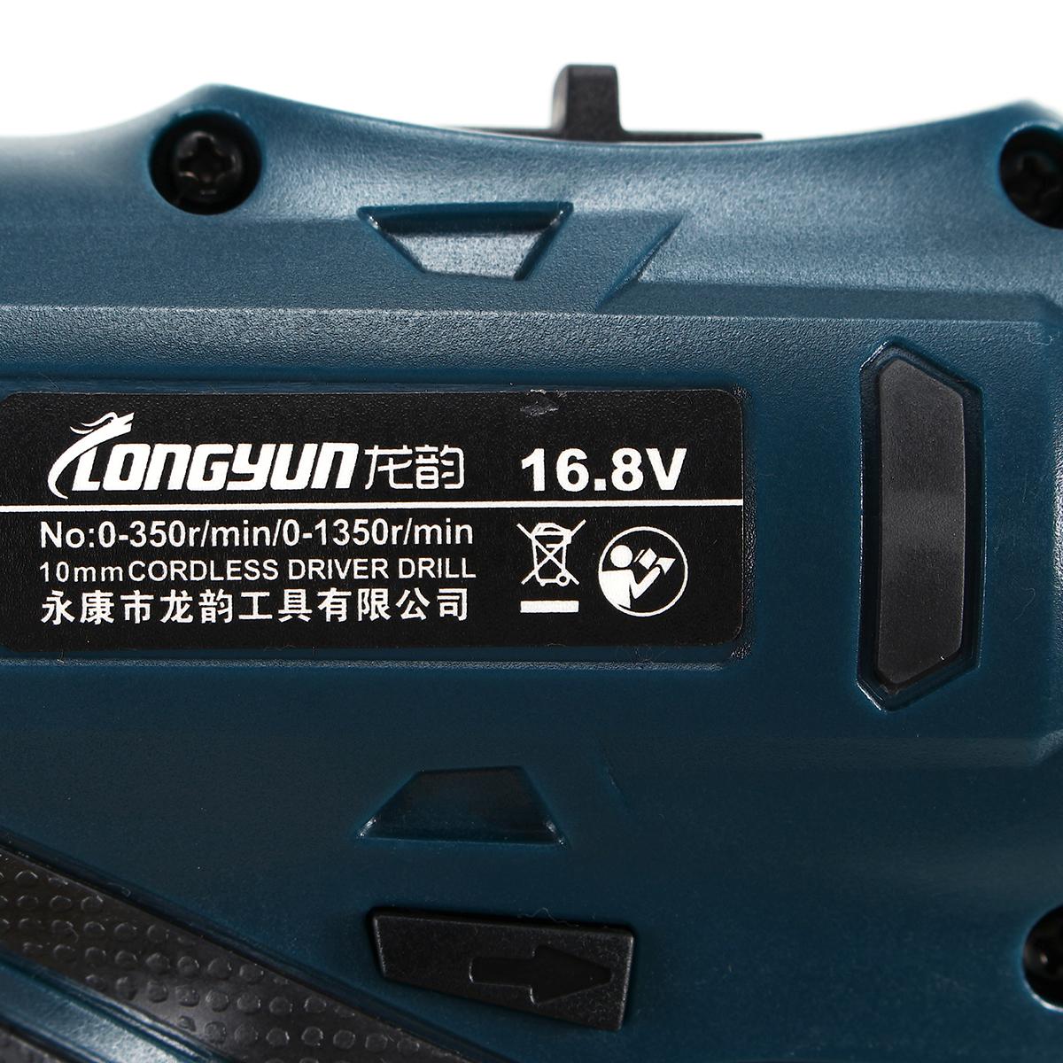 16.8V Li-Ion Cordless Electric Hammer Drill Driver Hand Kit 2 Speed LED
