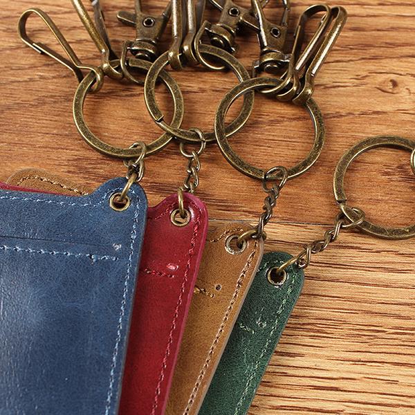Vintage Genuine Leather Keychain Card Holder Wallet For Men