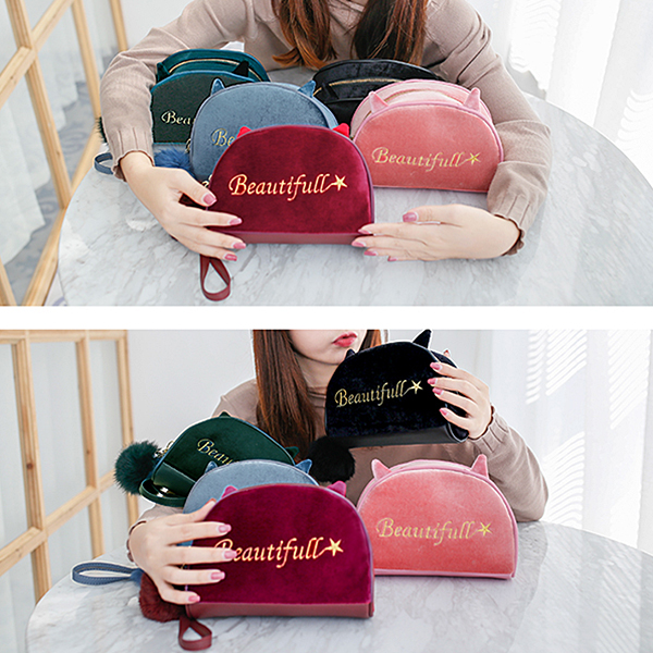 Velvet Cartoon Lovely Style Cosmetic Storage Bags Clutch Bag