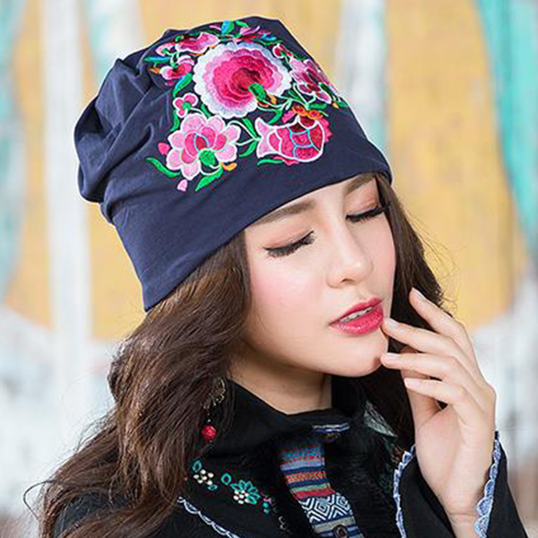 Ladies Ethnic Embroidery Slouch Skullcap Cotton Beanie Hat