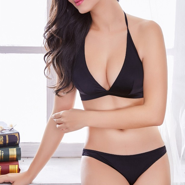 Multiple Threading Wireless Backless Plunge Bras