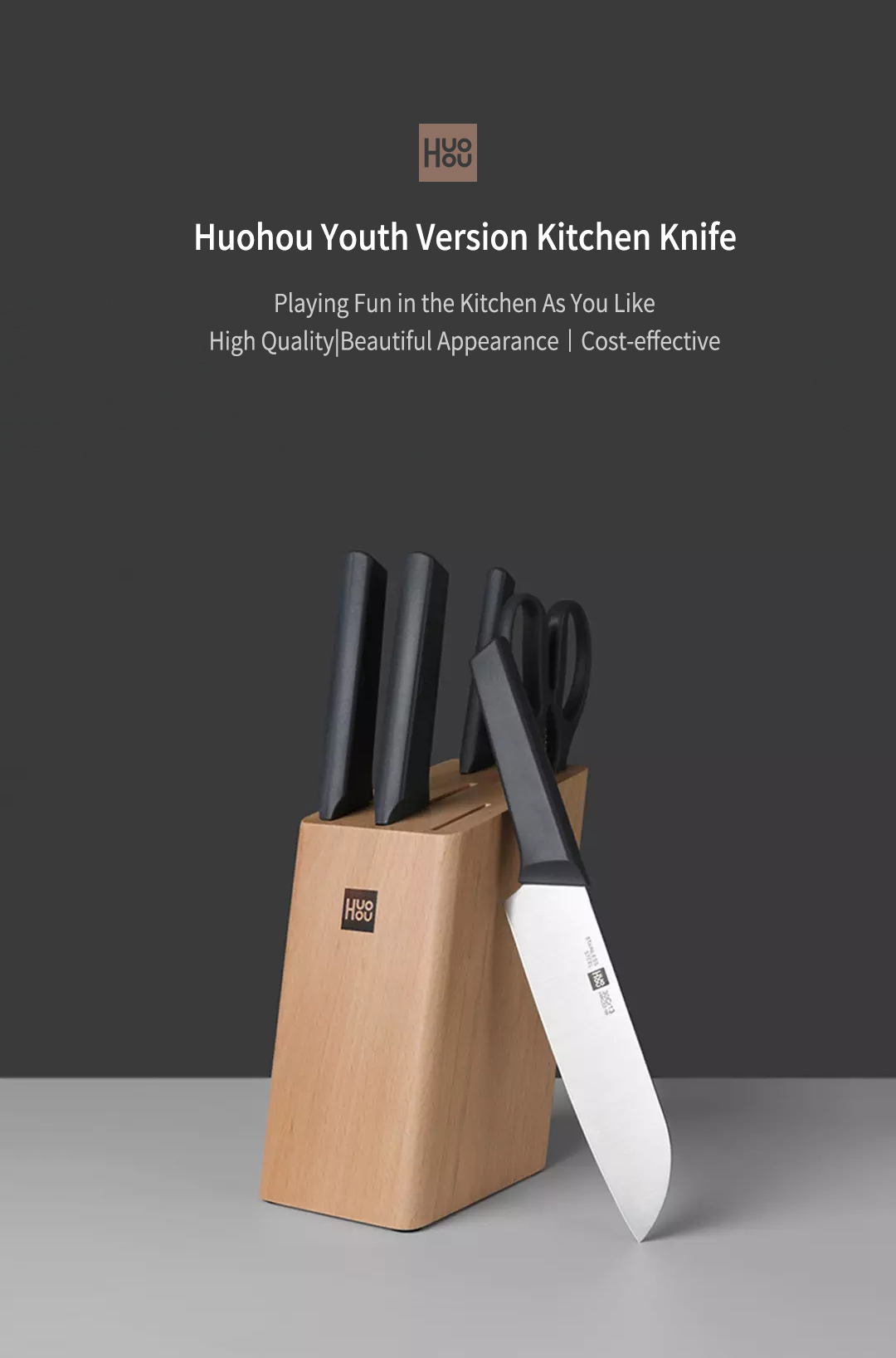 HuoHou 4 Pcs Non-Stick Stainless Steel Kitchen Knife Set Chef Knife Chopper Cleaver Slicer Fruit Knife Blade from Xiaomi Youpin