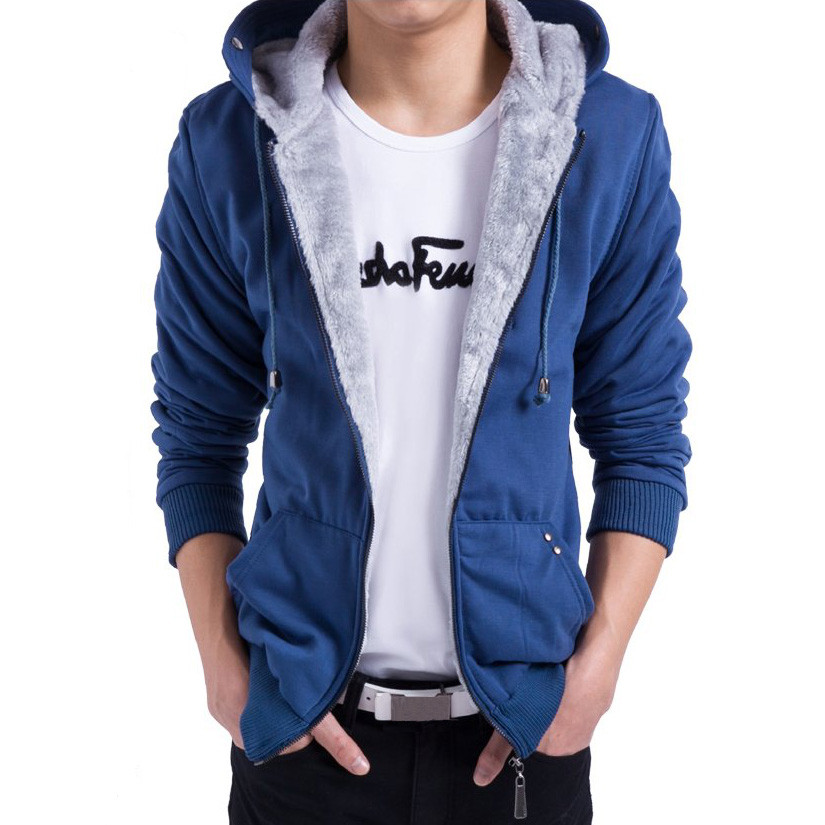 Men Fall Winter Solid Color Cotton Polyester Zipper Hoodie Coat Warm Sweatshirts
