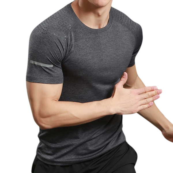 Mens Casual Quick Drying Breathable Sport T-shirt Reflective Stripe Fitness O-neck Jogging Tops Tees