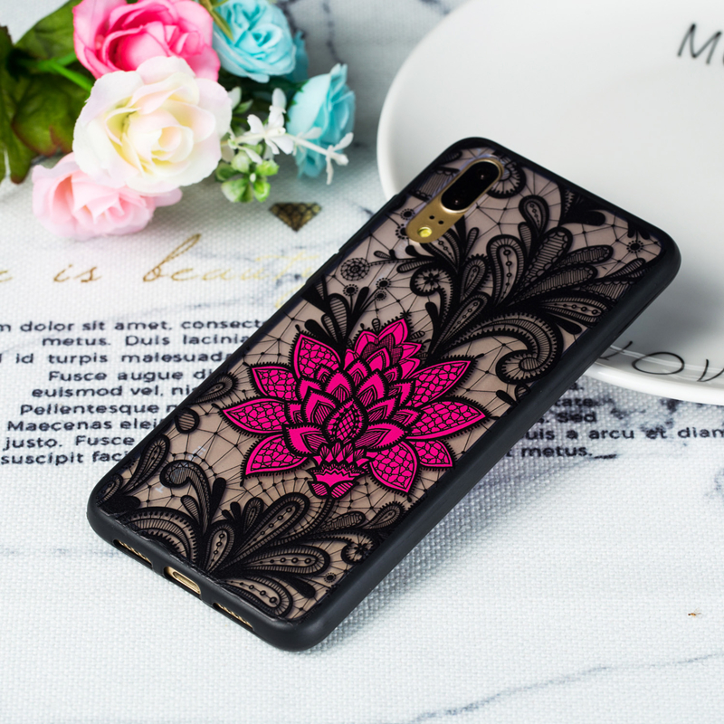 ENKAY Flower Relief 3D Shockproof TPU PC Protective Case for Huawei P20