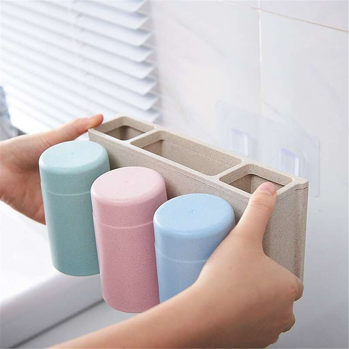 Multifunctional Wheat Straw 6 Toothbrushes Holder 2 Cups Suction Stand Home Bathroom Wall Mount