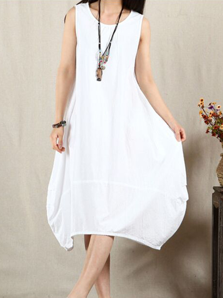 Women Loose Sleeveless Retro Solid Dress