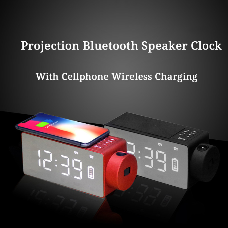 Mrosaa bluetooth Speaker Clock Home Alarm Projector Clock with Wireless Charging