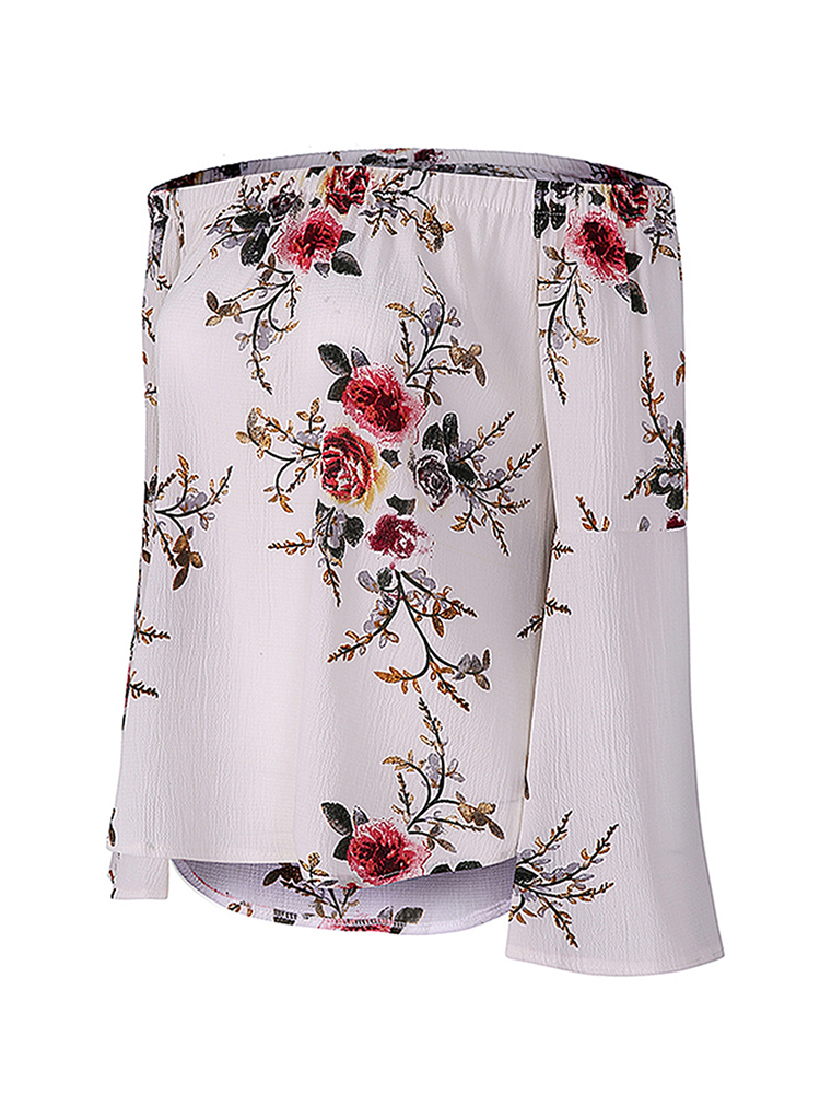 Sexy Women Flared Sleeve Floral Printed Off-The-Shoulder Top Shirts