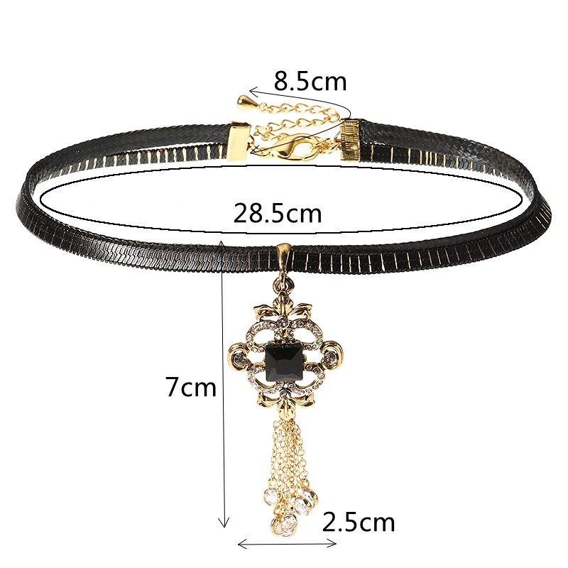 JASSY® Women Punk Choker Retro Gold Plated Tassel Pendant Gemstone Black Leather Necklace Gift