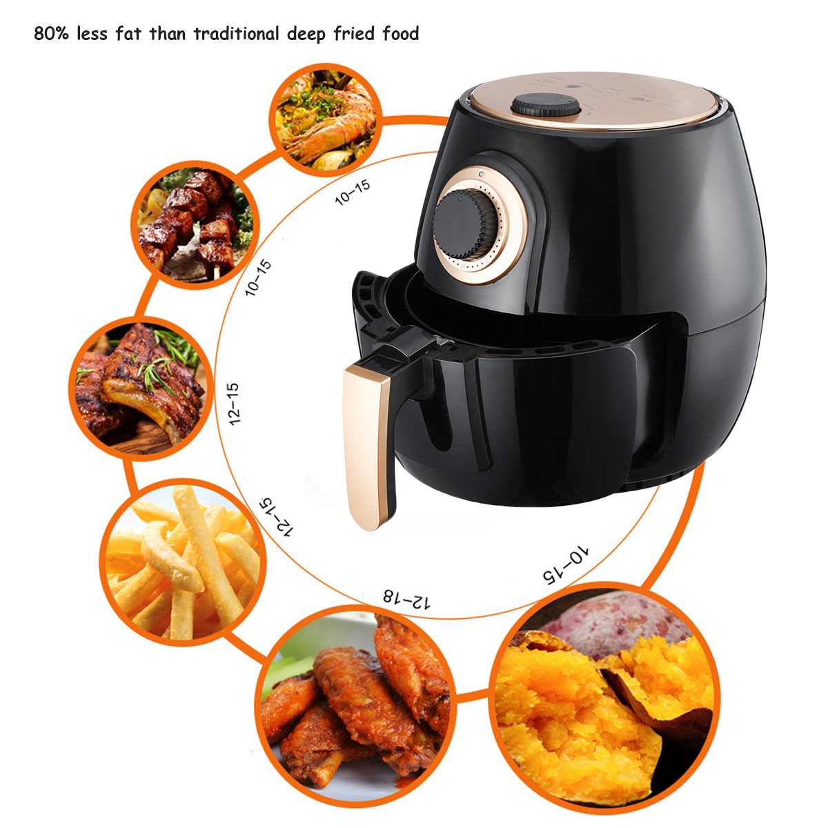 4L Air Fryer Healthy Cooking 5 Star Chef Free Low Fat Food Kitchen Electric Air Fryer Cooker Low Fat Oilless and Healthy Deep Fryer Machine