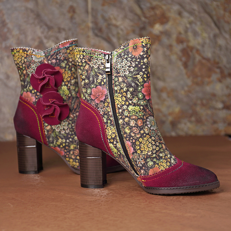 SOCOFY Flowers Zipper Ankle Leather Boots