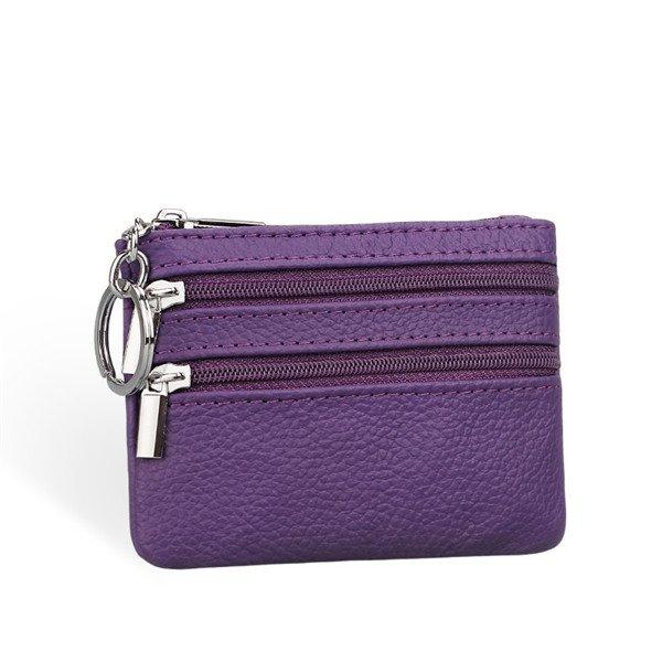 Women Genuine Leather Zpper Card Holder Clutch Wallet