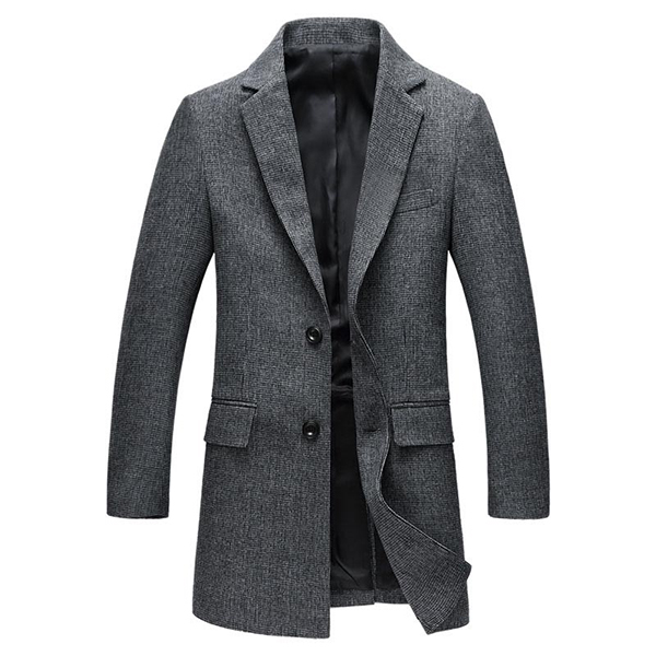 Mid Long Slim Fit Casual Business Single-breasted Stylish Simple Overcoat Blazers for Men