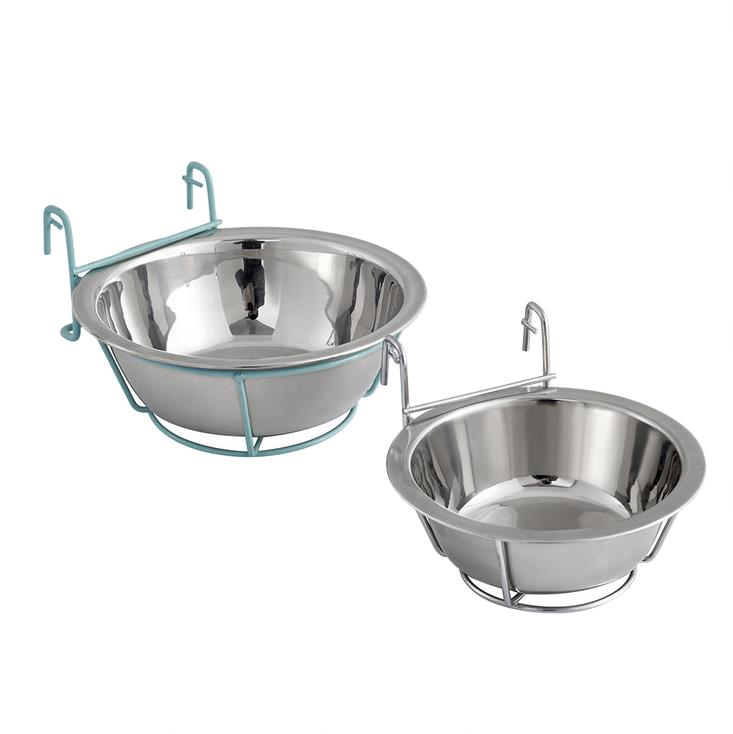 Stainless Steel Hanging Pet Bowl Food Water Feeder with Hanger for Dogs Cats Rabbits Bunny in Crate