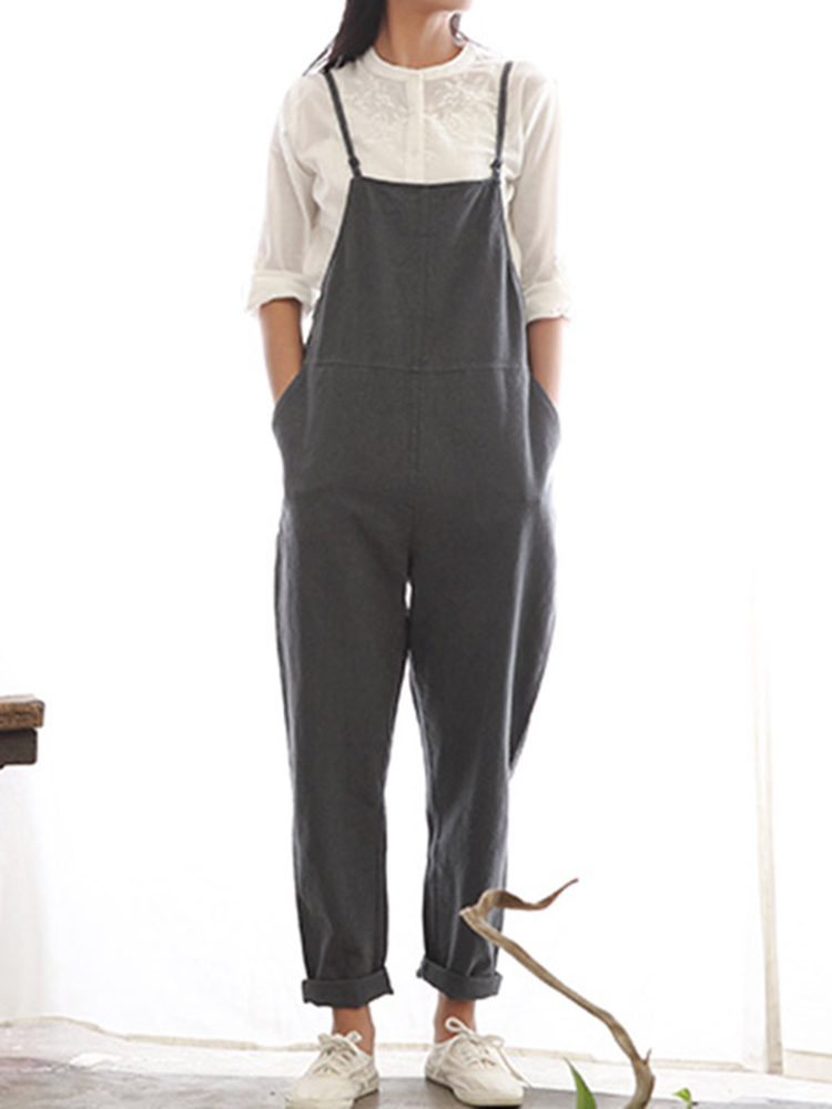 Image of Casual Damen Pure Farbe Side Button Strap Baumwolle Overalls