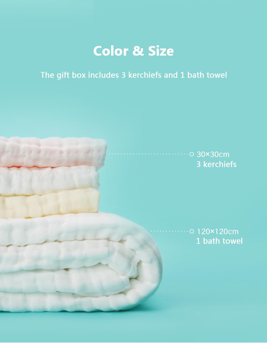 Original Xiaomi BEVA 4 in 1 Baby Infant Cotton Towel Cotton Gauze Hankercheif Square Bath Towel Set Gift Box