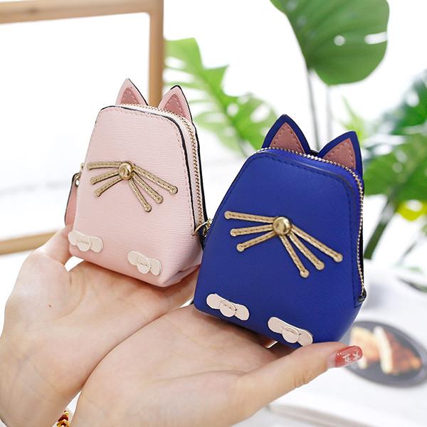 Women PU Leather Cute Cat Coin Bag Kitty Purse Animal Shape Wallet