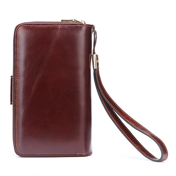 Men Genuine Leather Retro Clutch Bag Male Wallet Phone Bag
