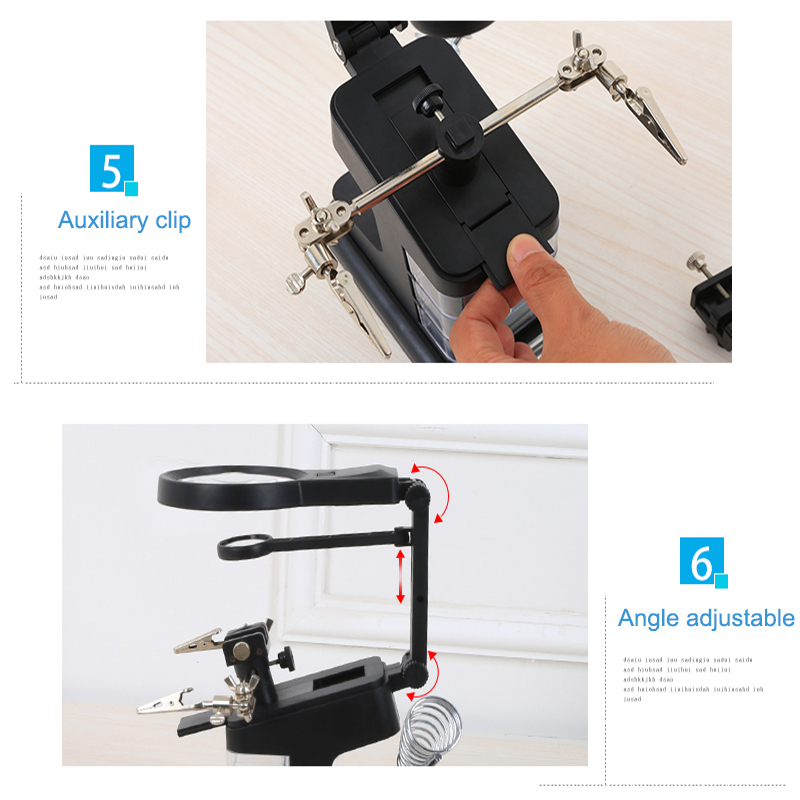 3X/4.5X/25X Soldering Table Magnifier Illuminated Magnifying Glass Third Hand Magnifier with LED Lights