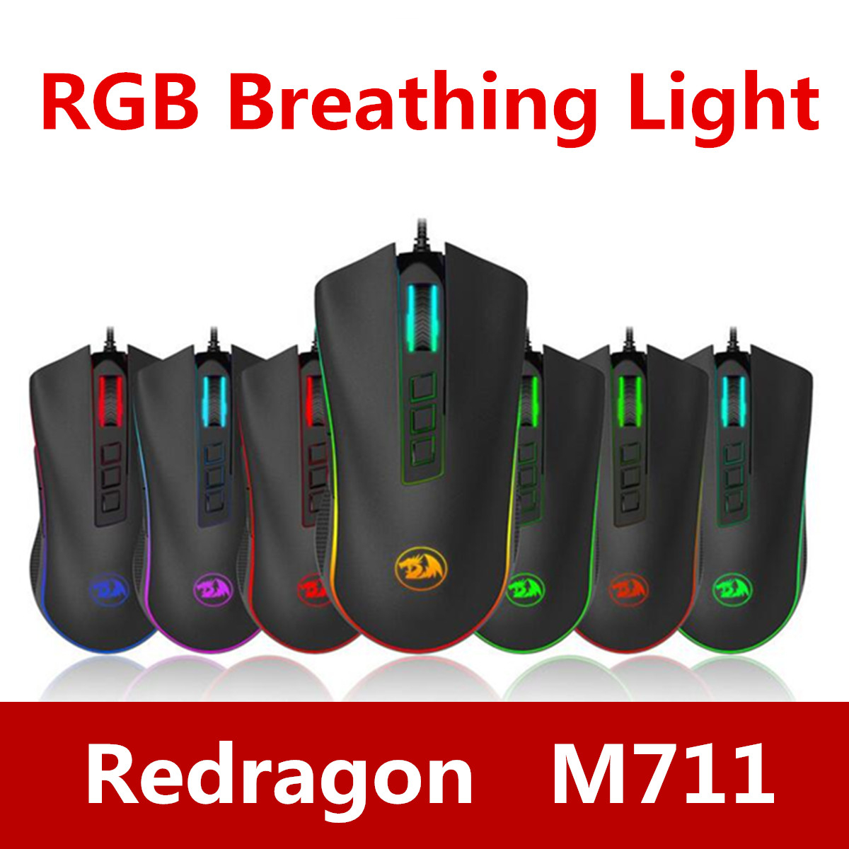 Redragon M711 10000 DPI 7 Programmable Buttons Optical Gaming Mouse 7 Chroma Lighting Effect