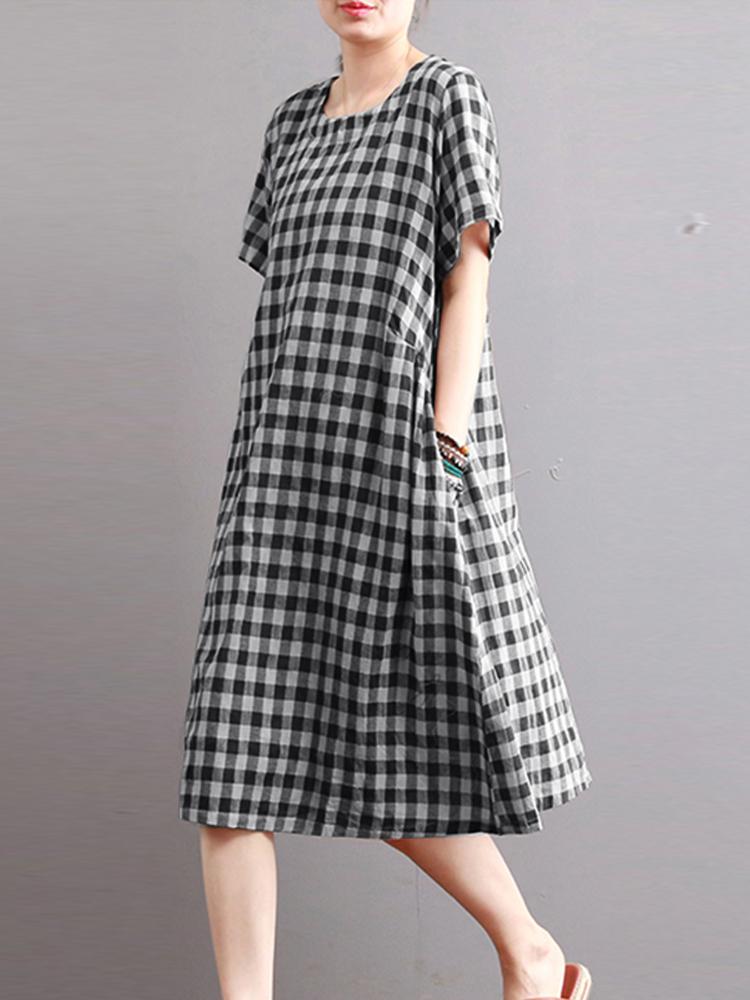 Women Casual Short Short Sleeve Plaid Shirt Dress