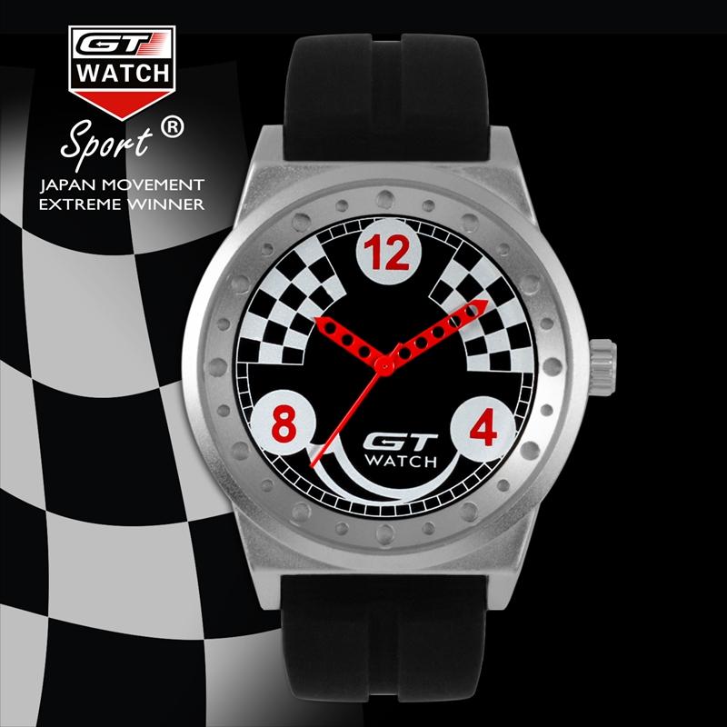 GT 005 Silica Gel Watch Band Car Racing Style Fashion Casual Sport Men Quartz Wrist Watch