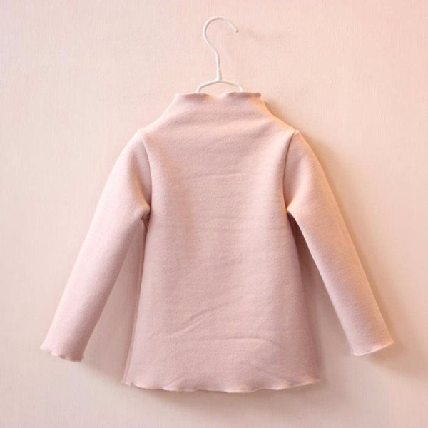 Baby Children Girl Heart Printed Long Sleeve Turtleneck Thick Top