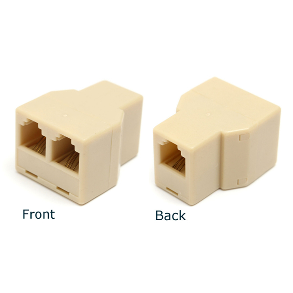 1 to 2 Female RJ11 Telephone Phone Jack Line Y Splitter Adapter Connector