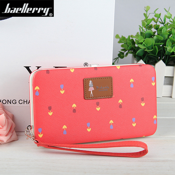 Women Phone Wallet Flower Print Clutches Bags For Iphone7 Samsung Galaxy Xiaomi
