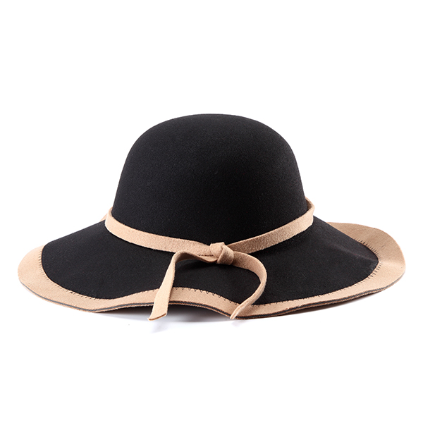 Women Ladies Vintage Wool Felt Flat Wide Brim Top Cap Bow Band Jazz Hat