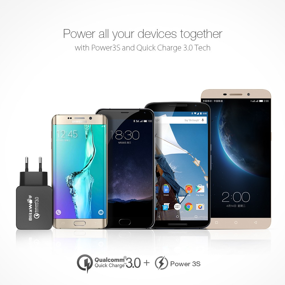 BlitzWolf® BW-S5+BW-TC12 QC3.0 18W USB Charger EU Adapter With 3A Type-C Charging Data Cable 1m