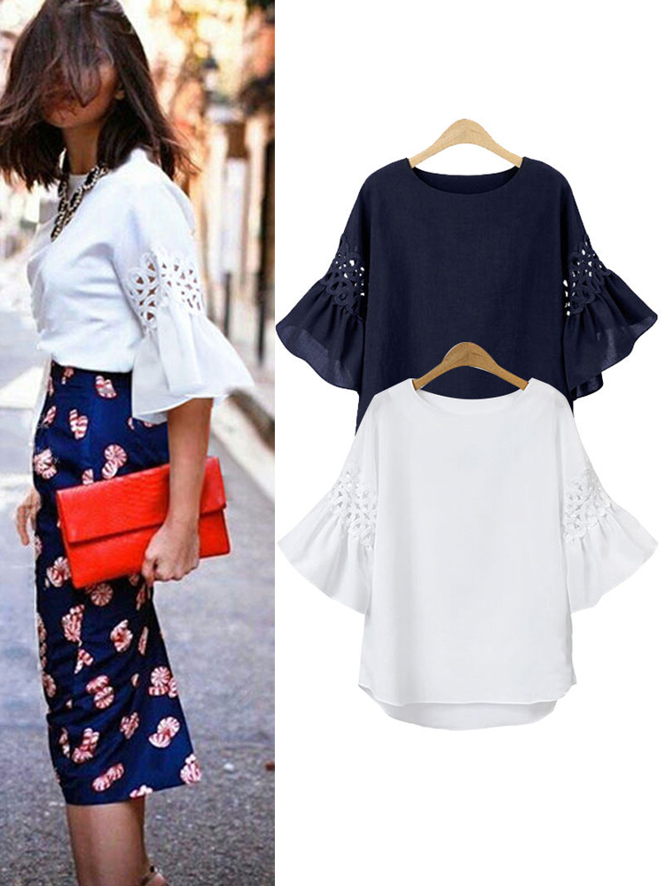 Women Hollowed Out Lace Cotton Crew Neck Loose Tops