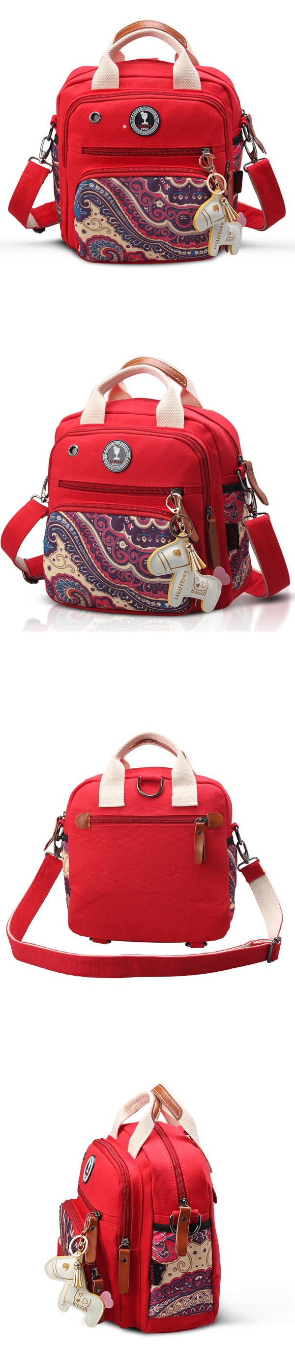 Women Canvas Multifunctional Print Shoulder Bags Backpack